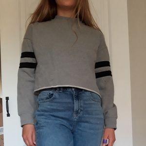 Cropped raw hem 90s style sweatshirt